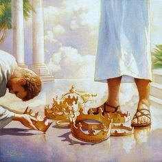 Casting our crowns at the feet of Jesus, prophetic art painting.