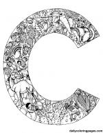 alphabet coloring pages -- a letter filled with animals starting with that letter. ohhh I want to color one of these...