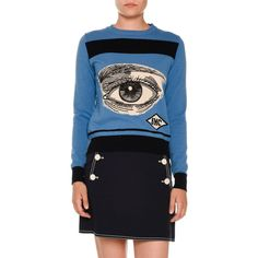 Stella Mccartney Eye Intarsia Crewneck Sweater ($810) ❤ liked on Polyvore featuring tops, sweaters, blue, women's apparel sweaters, blue pullover sweater, pullover sweaters, blue pullover, blue crewneck sweater and long sleeve tops