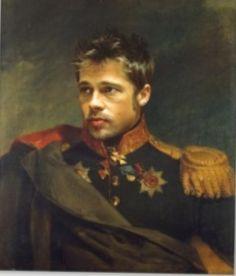 Best of Realistics Paintings on 🎨 Böcklin's Self-portrait with Death - Brad Pitt Celebrity Faces, Celebrity Portraits, Brad Pitt, An Officer And A Gentleman, Hollywood, Jason Statham, Keith Richards, Celebs, Celebrities