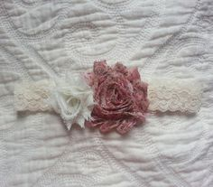 Shabby Chic Headband. Ivory and Country Flower Shabby by Lve2Cre8