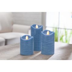 The Aurora Flame candle is the hottest LED candle technology on the market, featuring a mesmerizing dancing LED flame technology. Realistic motion flame look is achieved without the actual moving flame. This set of 3 blue candles is the perfect accent for any room and comes with a remote control.