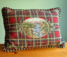 Needlepoint Down and Feather filled Plaid Fly by Mijatoon. Etsy.