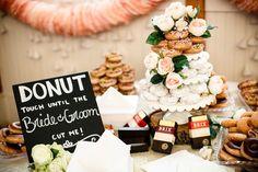 North Carolina wedding. Donut cake Photos by Janelle Elise photography