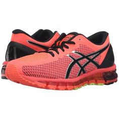 ASICS Gel-Quantum 360 CM (Flash Coral/Black/Silver) Women's Running... ($170) ❤ liked on Polyvore featuring shoes, athletic shoes, black athletic shoes, running shoes, laced shoes, black shoes and asics shoes