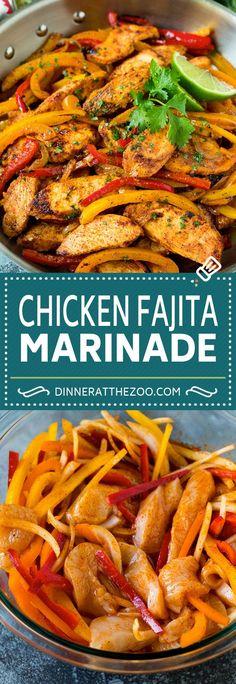 Chicken Fajita Rezept, Grilled Chicken Fajitas, Chicken Marinade Recipes, Chicken Marinades, Recipe Chicken, Easy Chicken Fajitas, Recipe Marinade, Chicken Nachos, Cinco De Mayo
