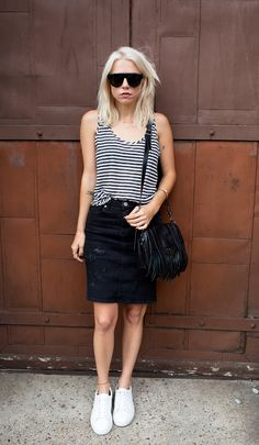 Striped Tank + Black Skirt