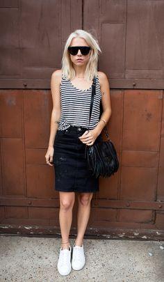 Striped Tank + Black Skirt
