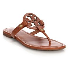 Tory Burch Miller Leather Logo Thong Sandals ($195) ❤ liked on Polyvore featuring shoes, sandals, brown, leather toe post sandals, toe thongs, brown thong sandals, flat thong sandals and leather sandals