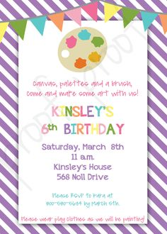 Painting Party Painting Birthday Party Paint Party Printable Painting Party Invitation Painting Birthday Invitation Paint Party Invitation - pinned by pin4etsy.com