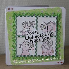 Op-knorretje kaart gemaakt met Joy! materialen en Marianne Design tekst clear stamp / Feel better soon card, made with Joy! and Marianne Design materials