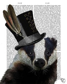 Steampunk Badger painting wall art picture wallart for the home house and home decor ideas country home Wall Art Wall Decor Wall Hanging on Etsy, $12.00