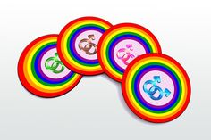 symbol of gay relationship Magnetic round Coasters by elcomdesign