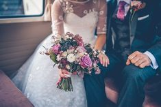 Image by Story & Colour - Bride in Tea Length Lace Justin Alexander Dress with birdcage veil & Rachel Simpson Shoes. Bridesmaid in Hobbs navy dress for a rustic barn wedding with berry bloom bouquet, naked cake & nautical theme. Summer Wedding Bouquets, Pink Wedding Dresses, Fall Wedding Bouquets, Flower Bouquet Wedding, Pink Bouquet, Bouquet Images, Wedding Photo Inspiration, Burgundy Wedding, Wedding Story