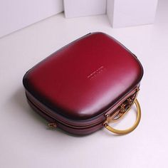 Genuine Leather Handbag Cube Shoulder