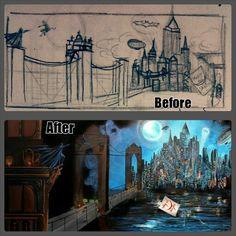avant/après, before/after Du premier croquis à la peinture finale.
