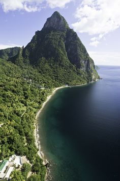 An impressive aerial shot of Petit Piton, near to St Lucia Health and Wellness Resort