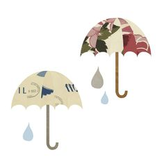 'Umbrellas in the Rain' Vintage post card graphic design.
