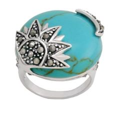 Sterling Silver Marcasite Turquoise Sun/Moon Ring~ Retail $249.99