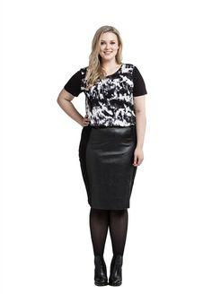 Pu Panel Ponti Skirt | Tops | Love Your Wardrobe