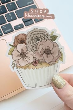 "Dress up your laptop, water bottle, or car window with this floral cupcake sticker #cupcakeart #sticker #stickers #cupcakeart Buy 3 or more individual stickers to get 30% off your sticker order with code ""sticker30""! Cupcake Drawing, Cupcake Art, Love Gifts For Her, Gifts For Mom, Clear Stickers, Cute Stickers, Floral Cupcakes, Sticker Shop, Drawing Reference"