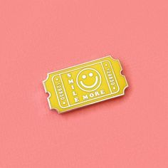 Yellow Smile More Admit Ticket Enamel Pin Bag Pins, Gamine Style, Jacket Pins, Cool Pins, Hard Enamel Pin, Pin And Patches, Pin Badges, Lapel Pins, Pin Collection