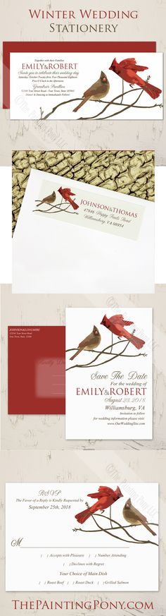 Winter Wedding Invitations - wintertime cardinal birds with a boy and girl cardinals on winter tree branches. Perfect for the November, december, january weddings, engagement parties, and bridal showers. Save the date postcards, return address labels, and rsvp cards with this set. Get the whole coordinating set for the full look and details. So sweet and whimsical