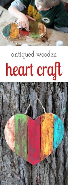 This Antiqued Wooden Heart craft is simple, inexpensive, and perfect for Valentine's Day.  via /https/://www.pinterest.com/fireflymudpie/