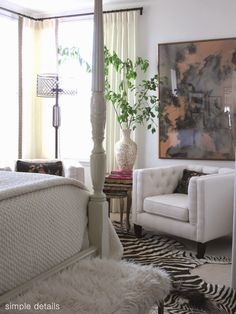 One Room Challenge - Craigslist Bedroom Reveal - layered neutrals, zebra hide rug, oversized artwork, cage floor lamp