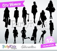 City Women Silhouette, instant download, PNG, JPG, SVG, eps files Ps-250