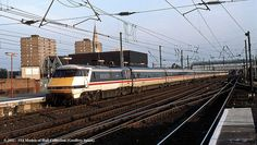 """GNER 91019 """"Scottish Enterprise"""" in push mode departs Doncaster with an up ECML express at Doncaster - The actual date the image was made is unknown; Electric Locomotive, Diesel Locomotive, British Rail, Electric Train, Train Station, Britain, Live, World, Trains"""