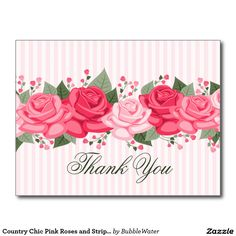 Country Chic Pink Roses and Stripes Postcard