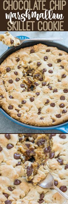 Chocolate Chip Marshmallow Skillet Cookie - Bigger is BETTER when it comes to cookies!! Soft center, chewy edges, loaded with gooey marshmallows and CHOCOLATE! Easy, no mixer recipe you must try!!