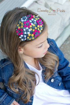 Pink Gray Baby Headband  Hot Pink Gray by SwankyPickleBoutique, $24.50