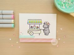 Pastel Ice Cream Cart Card (Saturday Stamp Day) - Making Cards Is Fun Ice Cream Cart, Scrapbook Cards, Girl Birthday, Cute Animals, Card Making, Pastel, Stamp, Blog, Fun