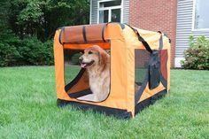 Iconic Pet - Versatile Pet Dog Soft Crate with Fleece Mat - Orange
