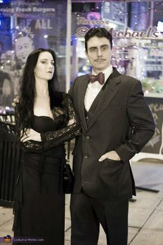 Tracy: My boyfriend and I are wearing our Addams family costumes. We found the suit and black dress at Goodwill and I watched several vids on how to do Morticia makeup.