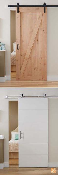 Barn Doors - Interior & Closet Doors - The Home Depot - If you're looking for a simple home upgrade, all-in-one barn door kits are a stylish way to refre - Home Upgrades, Kitchen Upgrades, Sliding Doors, The Doors, Panel Doors, Front Doors, Diy Barn Door, Barn Doors, Diy Door