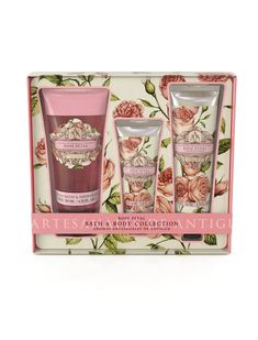 We've given our Bath & Body Collection a makeover! Your favourite floral AAA gift sets boast new, elegantly floral designs. Indulge with a luxury hand cream, floral bath & shower gel plus a nourishing body cream.  This floral bath & body gift set offers the perfect way to indulge in a little relaxation. Including a sumptuous bath & shower gel, a nourishing hand cream, and a moisturising body cream. With Aromas Artesanales de Antigua you'll feel pampered from head to toe.  #Rose