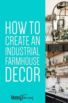 Farmhouse Industrial Decor With A Vintage Cozy Feel - Industrial Decor for Living Room, Kitchen, Bathroom, and Bedroom - How To Rock Farmhouse Industrial Decor #industrialdecor #industrial #farmhouse #industrialfarmhouse #decor #homedecor Industrial Home Offices, Industrial Farmhouse Decor, Industrial Interior Design, Vintage Industrial Furniture, Industrial Interiors, Industrial House, Industrial Style, Industrial Lamps, Farmhouse Interior