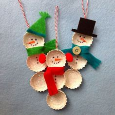 Bottle cap snowman ornaments. Add charm to any Christmas tree or gift box, and make charming and thoughtful holiday presents for friends and family members.