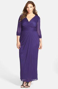 Alex Evenings Surplice Neckline Pleat Waist Long Dress (Plus Size) available at #Nordstrom