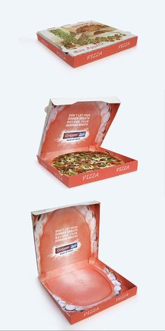 Pizza box with dental hygiene warning.  Pretty clever marketing.