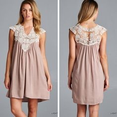 Crochet Lace Dress - Light Taupe - $30.50