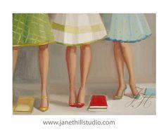 Library Ladies.  Figurative Art Print by janethillstudio on Etsy https://www.etsy.com/listing/94808181/library-ladies-figurative-art-print