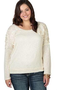 Plus Size Long Sleeve Dolman Top with Flower Crochet on Shoulders