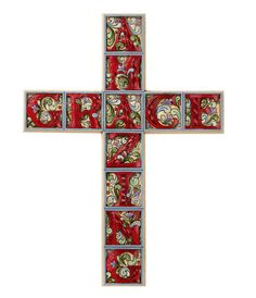 "Beautiful hand painted Jim Shore Amazing Grace wall cross. Perfect gift for any Christian or Catholic home. Made of resin. Measures at 15"" tall"