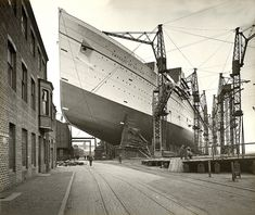 Empress of Britain at John Brown's Shipyard, near Glasgow, Scotland -  1931. Pinned from…