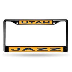 Utah Jazz Black Chrome Laser Cut License Plate Frame #UtahJazz