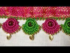 Simple pattu and silk saree kuchu design - Indian Fashion Ideas Hand Embroidery Design Patterns, Hand Embroidery Videos, Hand Embroidery Flowers, Embroidery Works, Patch Work Blouse Designs, Kids Blouse Designs, Hand Work Blouse Design, Saree Kuchu New Designs, Saree Tassels Designs